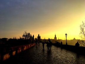 Charles Bridge at Sunrise facing Right Bank