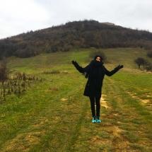 Kara before hiking Visocica Hill pyramid