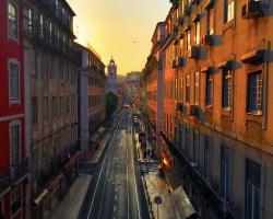 Lisbon Street in Perfect Sunset Light
