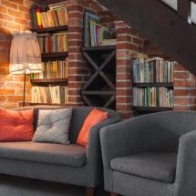 seats and bookshelves